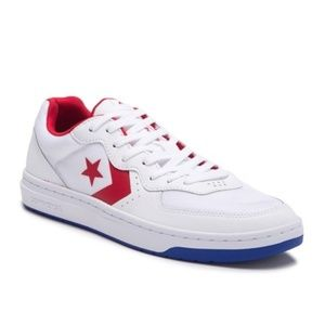 CONVERSE RIVAL OX White Enamel Red Blue Sneakers